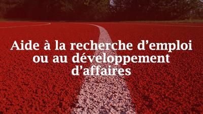 Image de piste de course à pied sur laquelle sont superposés les mots «Aide à la recherche d'emploi ou au développement de carrière»